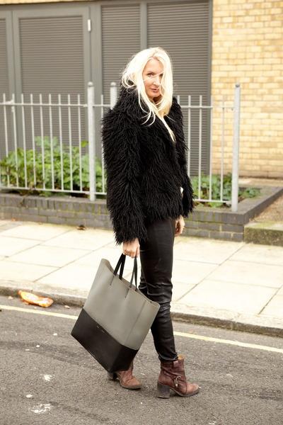 black H&M jacket - dark brown leather Diesel boots