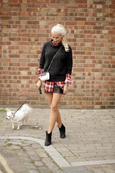 black leather Isabel Marant boots - red silk joseph shirt - white Chanel bag