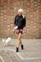 black leather Isabel Marant boots - red silk joseph shirt - white Chanel bag
