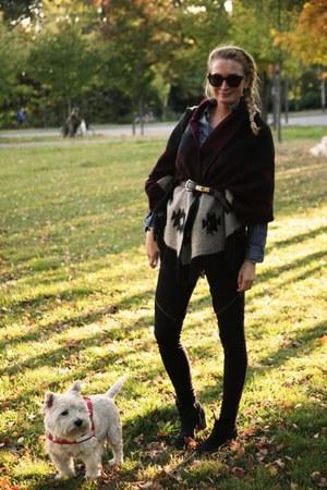 black Isabel Marant boots - black Bik Bok pants - black Moschino belt