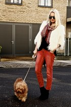 black pony Tag Oslo boots - red Isabel Marant jeans - white faux fur DKNY jacket