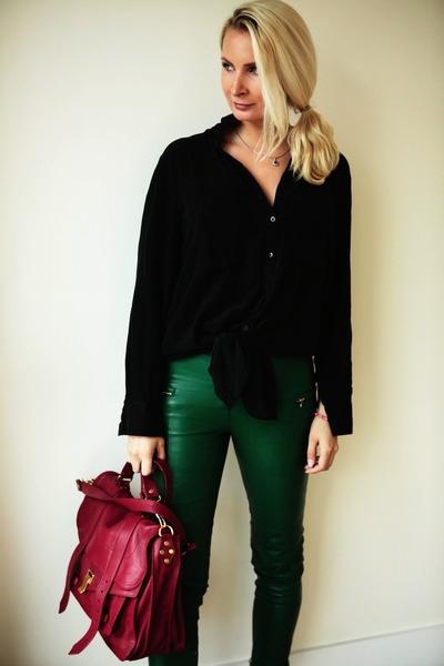 dark green leather By Malene Birger pants