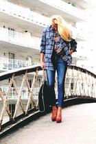 flannel vintage shirt - jeans Current Elliot jeans - Stella McCartney bag