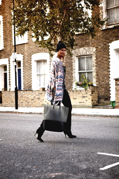 pink Missoni cardigan - black Isabel Marant boots - black Celine bag