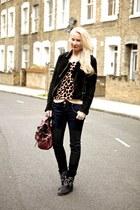 black leather Isabel Marant boots - black Mardou and Dean jeans