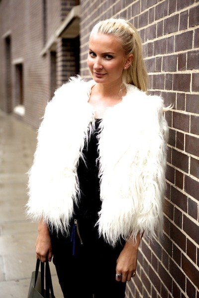 faux fur DKNY jacket - Mardou and Dean jeans - Celine bag