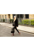 brown leather Lulle hat - dark brown Diesel boots - black H&M jacket