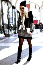 white leather Chanel bag - black canvas Isabel Marant boots - black dagmar dress