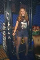 black t-shirt - blue American Rag shorts - heather gray Ann Taylor Loft tights -