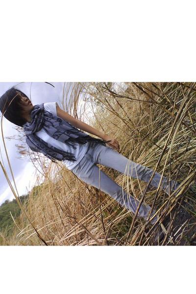 black shoes - silver jeans - white shirt - black scarf