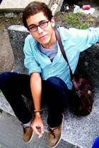 brown Misako wallet - beige Pull & Bear shoes - green H&M shirt