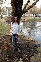 striped Urban Outfitters shirt - studded Mia boots - flower printed Delias pants