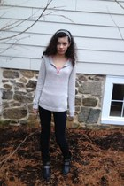 silver H&M sweater - studded ankle Mia boots - dark wash Delias jeans