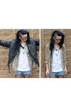 black tassel vintage jacket - blue Levis shorts - nude leopard print vintage blo