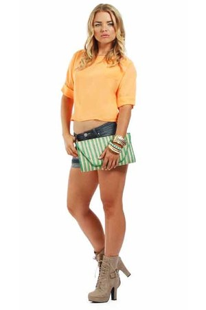 denim shorts windsor shorts - neon orange top windsor top
