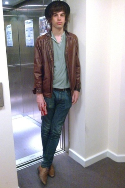 Vintage leather jacket - Topman t-shirt - Topman hat - Topman shoes