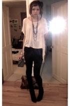 pink Topshop t-shirt - black new look boots - black Topshop skirt