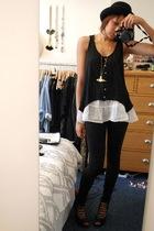 Sportsgirl hat - Topshop vest - Zara vest - sass & bide leggings - Topshop shoes