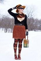 tawny fringe bcbg max azria skirt - bronze wool Da-Me hat