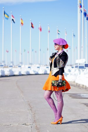 light orange fit and flare dress - amethyst beret wool hat - black cotton jacket