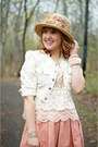 Tan-victorian-handmade-hat-light-pink-denim-jessica-simpson-jacket
