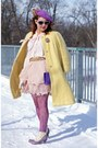Light-purple-leather-fluevog-boots-light-yellow-mohair-vintage-coat