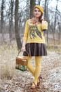 Mustard-beret-forever-21-hat-mustard-owl-print-kensie-sweater