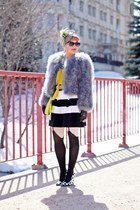 yellow danier purse - heather gray feathers bcbg max azria coat