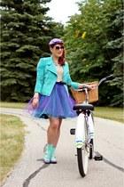 amethyst tulle DIY skirt - light purple wool hat - turquoise blue suede jacket