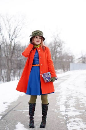 blue leather dress - navy boots - carrot orange coat - olive green wool hat