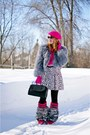 Hot-pink-boots-hot-pink-wool-hat-heather-gray-feather-jacket-black-bag