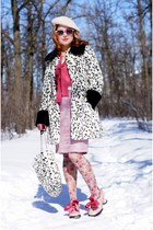white Topshop coat - light pink floral print Icing tights - white Icing purse