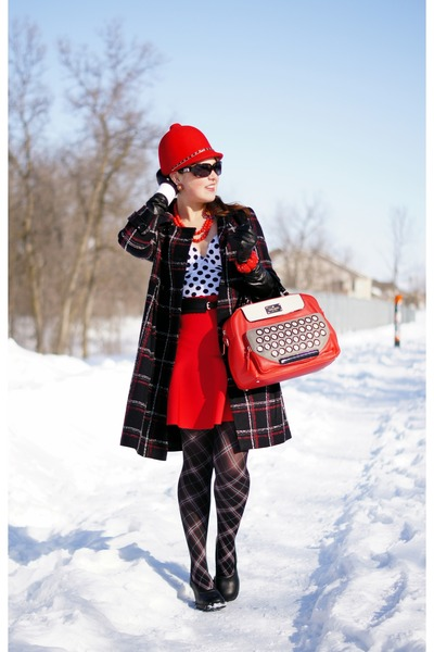 black plaid coat - red wool riding hat hat - black plaid tights - red purse
