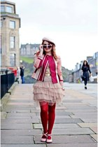 light pink tulle skirt - maroon cotton jacket - maroon tights