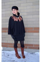 black wool Nygard cape - tawny leather argolo Fluevog boots