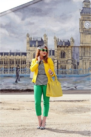 green capris pants - black fascinator hat - yellow leather jacket
