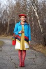 Mustard-dress-sky-blue-choies-coat-red-wool-beret-hat-red-flowerpot-bag