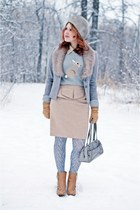 beige peplum skirt Forever 21 skirt - camel leather Chie Mihara boots