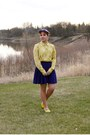 Yellow-snakeskin-print-joe-fresh-blouse-purple-wool-vintage-hat
