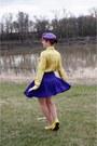 Purple-wool-vintage-hat-yellow-snakeskin-print-joe-fresh-blouse