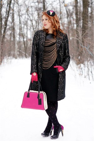 black ice cream DIY hat - black brocade coat - hot pink leather purse