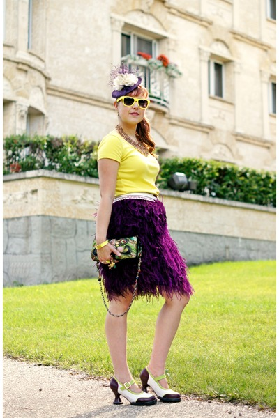purple fascinator jacques vert hat - chartreuse silk Mary Frances purse