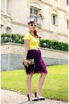 purple fascinator jacques vert hat - chartreuse silk Mary Frances purse