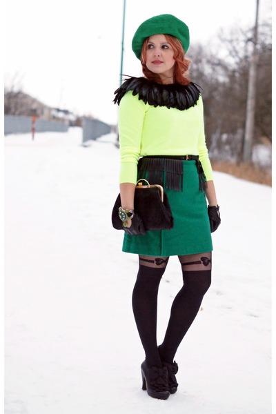 green wool Joe Fresh skirt - black leather Chie Mihara boots