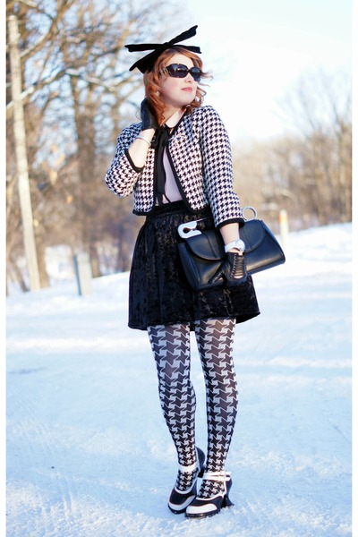 black velvet Joe Fresh skirt - white houndstooth Forever 21 jacket