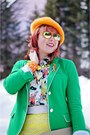 Green-gap-blazer-orange-beret-angora-local-store-hat-green-joe-fresh-tights