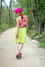 Chartreuse-mary-frances-purse-hot-pink-wool-ebay-hat