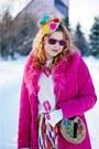 Hot-pink-suede-coat-camel-hat-camel-bag-light-orange-silk-skirt