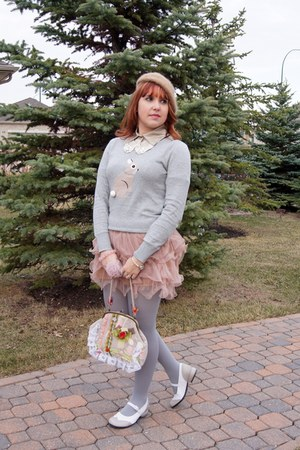 light pink ruffle tulle Forever 21 skirt - camel angora beret Ardene hat