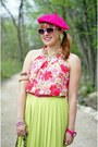 Pink-silk-inc-blouse-hot-pink-beret-ebay-hat-chartreuse-mary-frances-bag